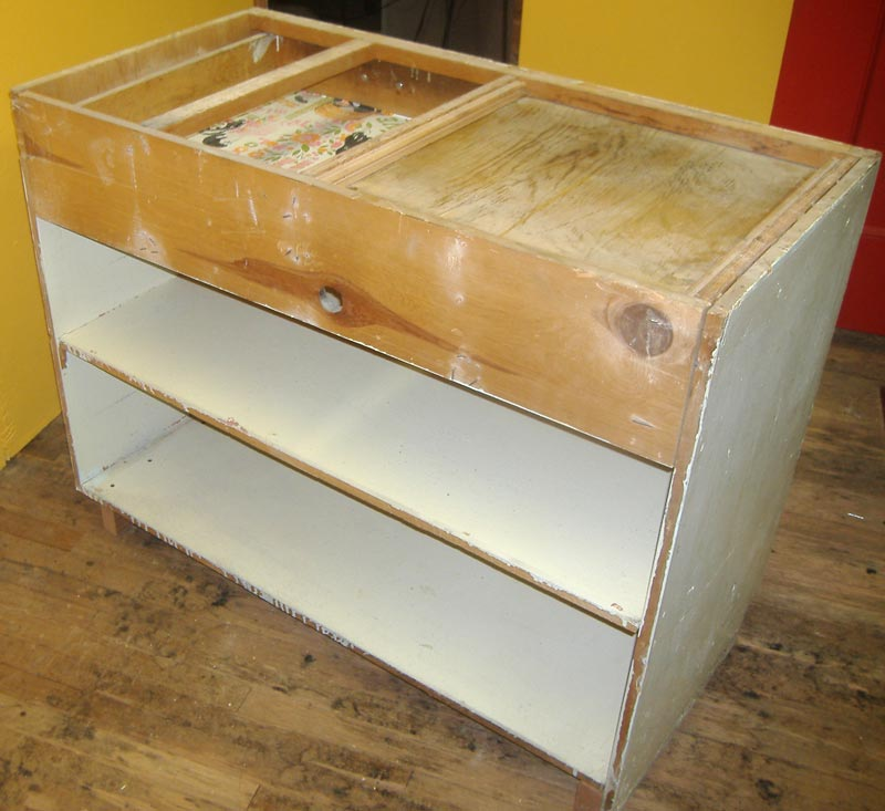 mid century kitchen island with cutting board antique